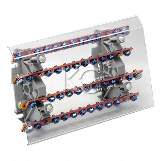 Блок распределительный на DIN-рейку РБ (шинный)-200А-КС
