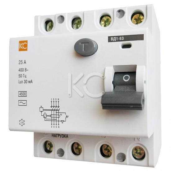 Дифференциальный выключатель (УЗО) ВД1-63 4р С 63А/30мА КС