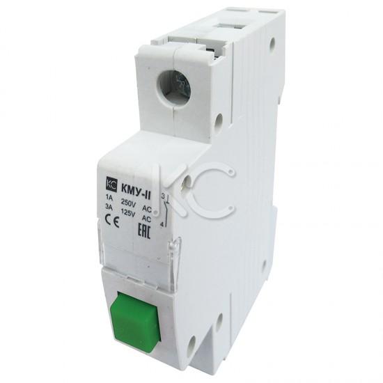 Кнопка управления модульная КМУ-11, 1НО, AC230В (зеленая, с фиксацией) КС