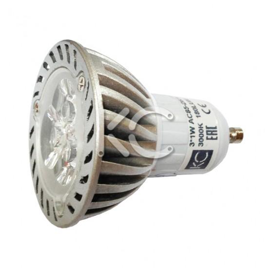 Лампа светодиодная CET048-3х1Вт-3000К-GU10-КС