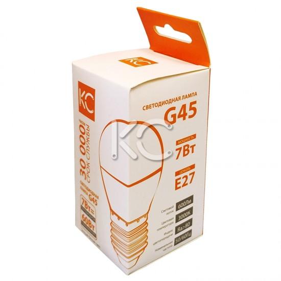 Лампа светодиодная G45-7W-3000K-E27-KC