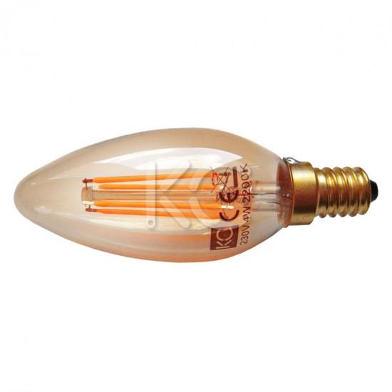 Лампа светодиодная (стекло.VINTAGE) C35-4W-2200K-E14-KC
