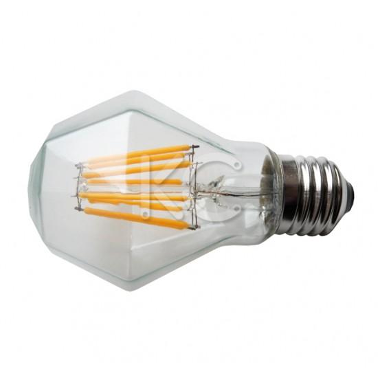 Лампа светодиодная (стекло VINTAGE RHOMBUS) A60-8W-2200K-E27-КС
